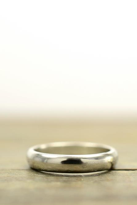 4mm sterling silver simple wedding band ring